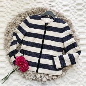 Gap Navy and White Striped Jacket with Black Trim